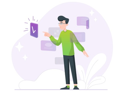 Select category technology web character design approve category 2d illustration