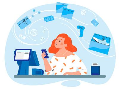 StoreKeeper 2dart girl web illustrator character design 2d art illustration vector