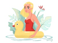 Pool duck water pool girl character design illustrator 2d art illustration vector