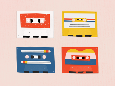 cassette tapes colorful cassette collage