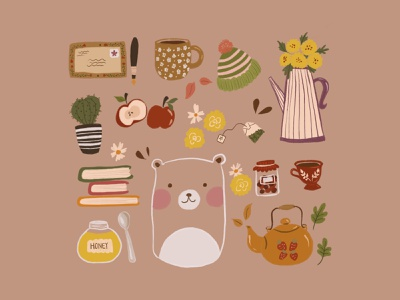 Things I like earthy warm colors warm minimal bear food flower colour design cute art illustration