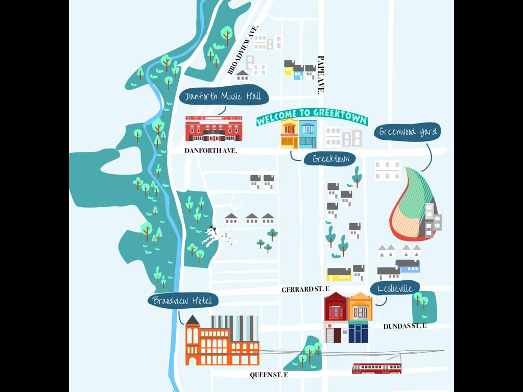 Map for East End Toronto design illustration