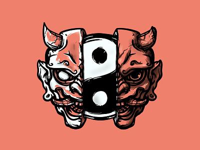 Oni LIbra hannya oni japanese art branding merch design bandmerch vector graphic design skull logo illustration design