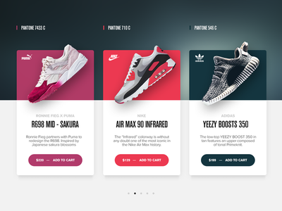 Pantone Sneaker Shopping Cards ios sneakers colors daily adidas puma nike ecommerce ui cards