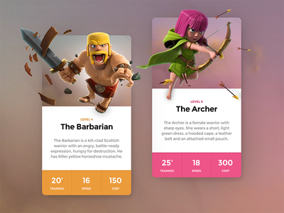 Clash Cards Preview cards daily visual design clash of clans game ios mobile