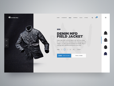 Product Page brand clothing gstar layout ecommerce store shop product website web ux ui