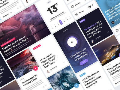CapeStorm - UI Cards Exploration weather daily ios cape town cards design user experience ux user interface ui app