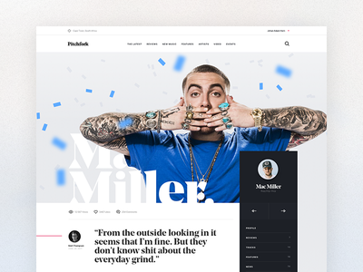 Pitchfork Artist Profile Concept design page profile artist web ui typography sketch editorial cards article