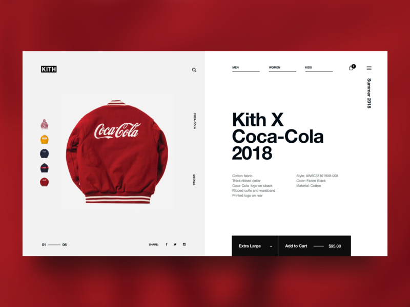 Kith x CocaCola pdp details product shopping ecommerce typography design web ux user interface ui