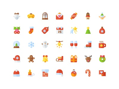 christmas icon set ( flat )