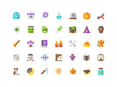 halloween icon set ( flat ) icon free
