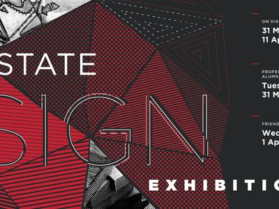 Design Exhibition Poster spot color pantone 426 c pantone 200 c print 2-color pantone