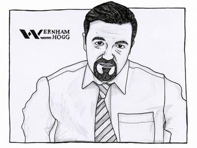 David Brent comedy portrait drawing illustration pen pencil logo david brent the office