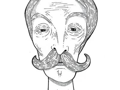 Old Man pen illustration old man moustache wrinkles wrinkle eyes face portrait dots old man