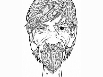 Old Timers illustration wrinkles eyes beard moustache lines dots old man