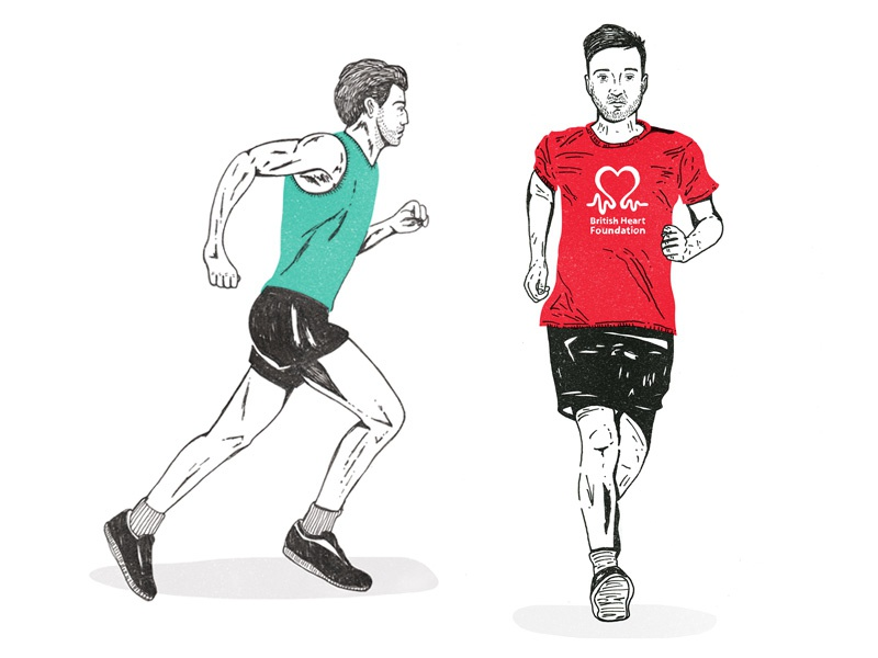Runners run runner charity marathon beard heart colour illustration portrait legs
