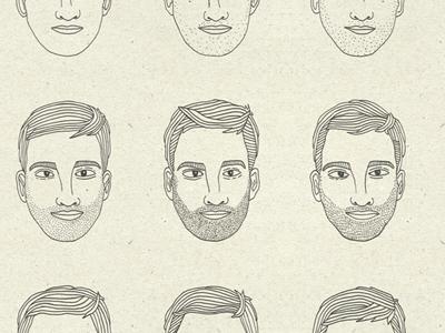 Journey of a Genlteman gentleman beard stubble man texture lines pen illustration