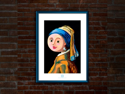 The small girl with a pearl earring - Framed
