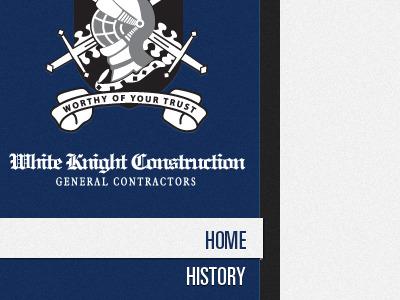 White Knight Construction navigation sidebar logo blue
