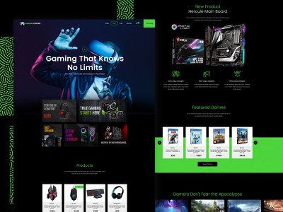 Gaming Shop - Template Design design green web template ecommerce dark creative shop webdesign ui wordpress website