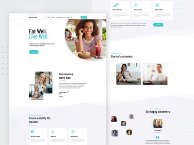 Nutrition Coach - Template Design personal template light webdesign ux wordpress minimal creative clean health ui web design website