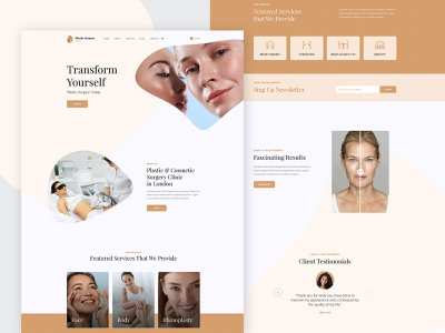 Cosmetic Surgery - Template Design wordpress template ux clean minimal webdesign typography creative health ui website