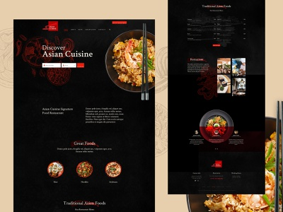 Asian Cuisine - Template Design typography menu template ux webdesign dark restaurant food creative ui wordpress website