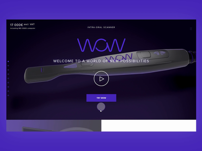 Wow Scan Landing Page website clean sroll parallax hover purple dentist product landing page ui ui landing page