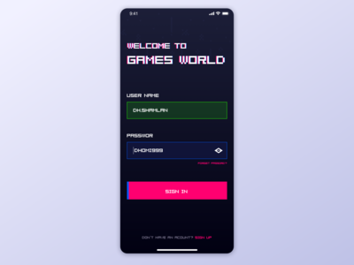 Login page for gamers