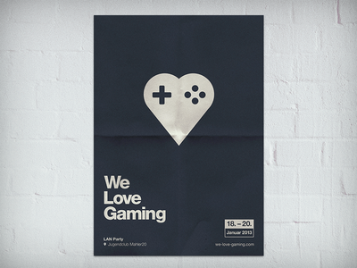 We Love Gaming Poster wlg event poster plakat print gaming controller esport cs:go fifa13 computer pc wall bricks paper berlin 2013 january we love gaming lan party helvetica neue