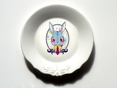 One Bunny In Dish dish draw pattern design.