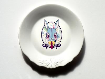 One Bunny In Dish dish draw pattern design.