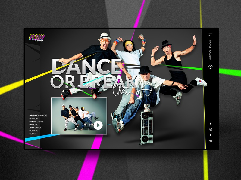 Web streetdance academy creative landing layout ux webdeisgn ui web