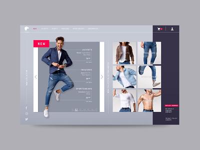 men webshop landing design web ui layout