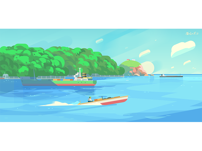 Tribute to Ponyo island ship animation environment sea japan ponyo cover ghibli illustration