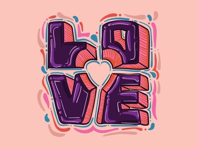 LOVE colorful artwork adobe design vector calligraphy lettering typography illustration illustrator peace loveislove love
