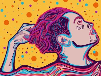 Pulling vector art artworks design artwork adobe illustrator face colorful portrait graphic drawing illustration