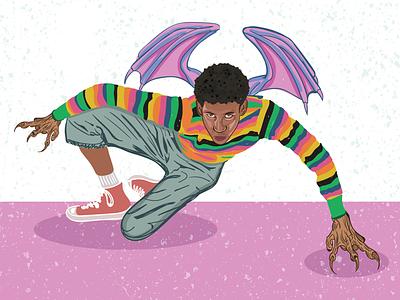 Bat boy portrait sketch vampire dribbble pink art illustrator adobe graphic illustration