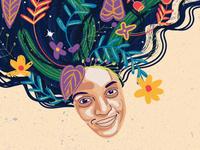Flower portrait illustration