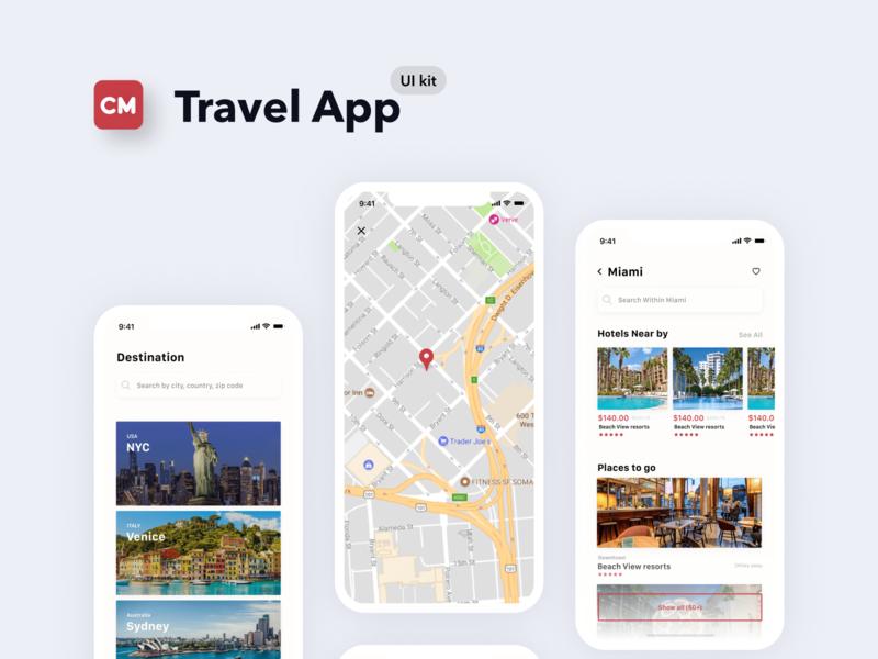 Checkmate iOS Mobile UI Kit destination travel app figma daily ui dailyui mobile ui kit mobile ui mobile app ui kit uikit uiux ui