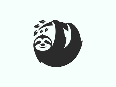 Sloth flat silhouette smile black mascot zoo fun mammal nature happy funny cartoon lazy sloth logo illustration cute wildlife animal