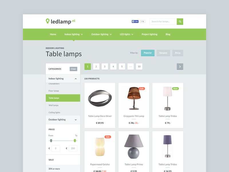 Ledlamp.nl - Product Category web interaction interface experience design webshop store light clean minimal e-commerce product