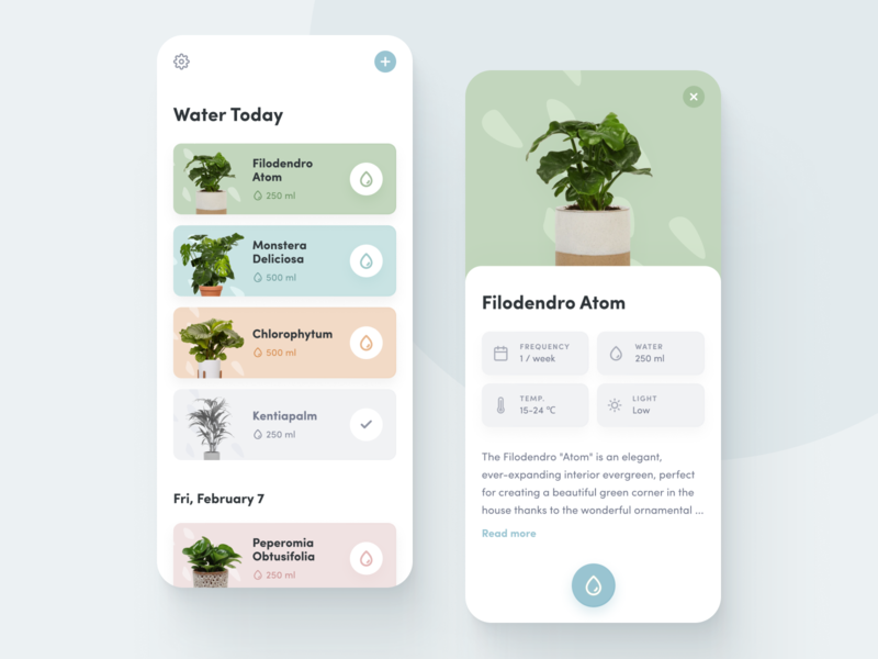 Watering Plants App plants monitoring care green gardening mobile ux water plants watering list view tracking track nature plants plant mobile ui mobile app mobile iphone ios concept app