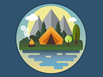 Adventure Awaits coaster tent camping flat design illustration vector