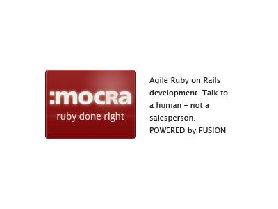 Mocra; ruby done right mocra fusion ad red ruby ruby on rails