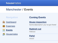 Housemates / Events housemates housemat-es events app application web app fatcow