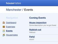 Housemates / Events housemates housemat-es events app application web app fatcow