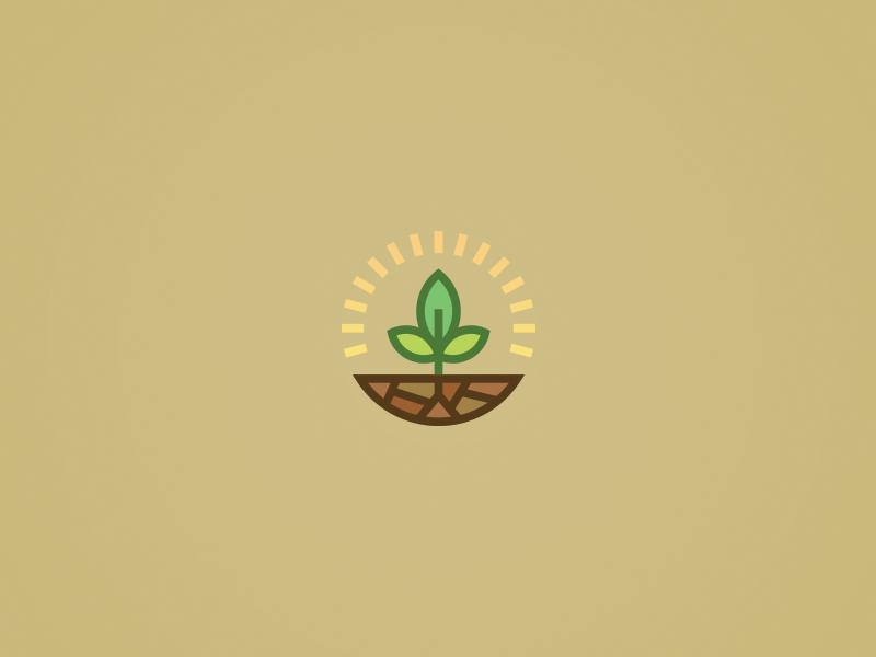Plant Mark plant mark sun dirt grow earth vector illustration logo brand color