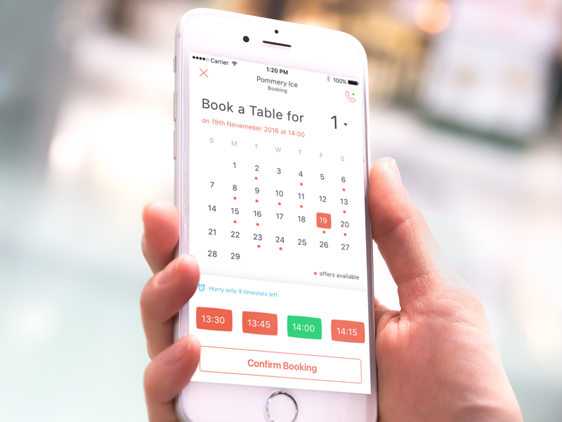 Table Booking By Matt Thornhill Dribbble - Table booking app