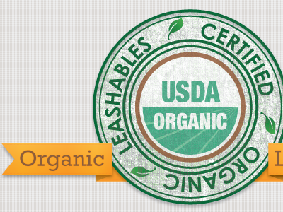 Organic badge certified usda ribbon texture